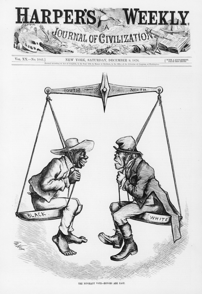 The cover of Harpers Weekly from 1876 depicting the status of African-Americans and Irish-Americans